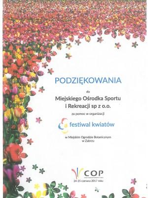 Podziękowanie Festiwal Kwiatów