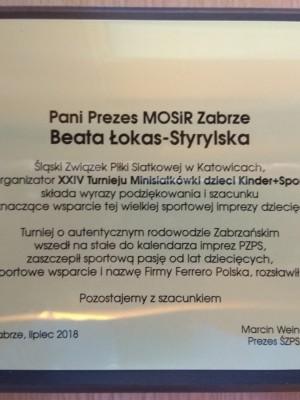 Podziękowanie Śląska Siatkówka
