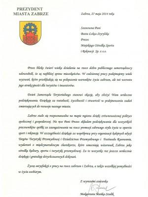 Podziękowanie Prezydent Zabrza