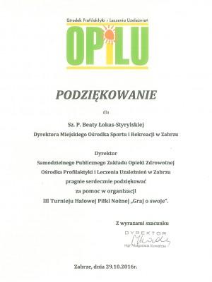 Podziękowanie OPIL
